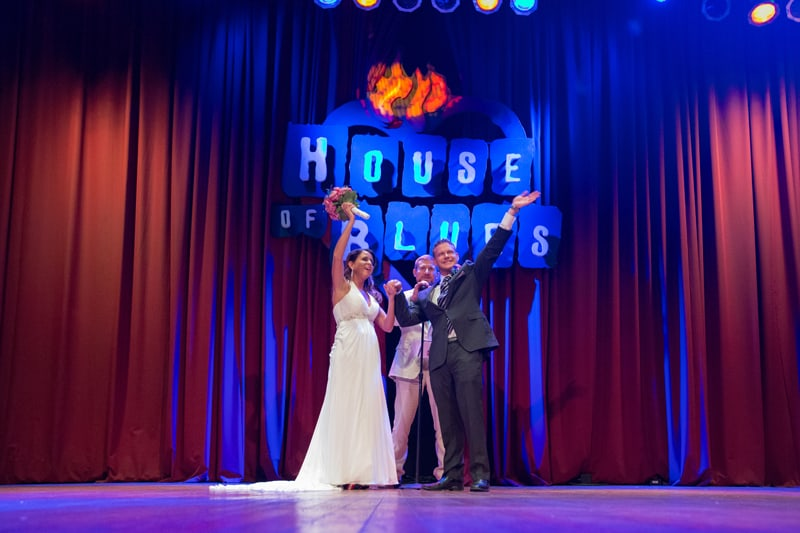happy couple after their wedding ceremony at house of blues
