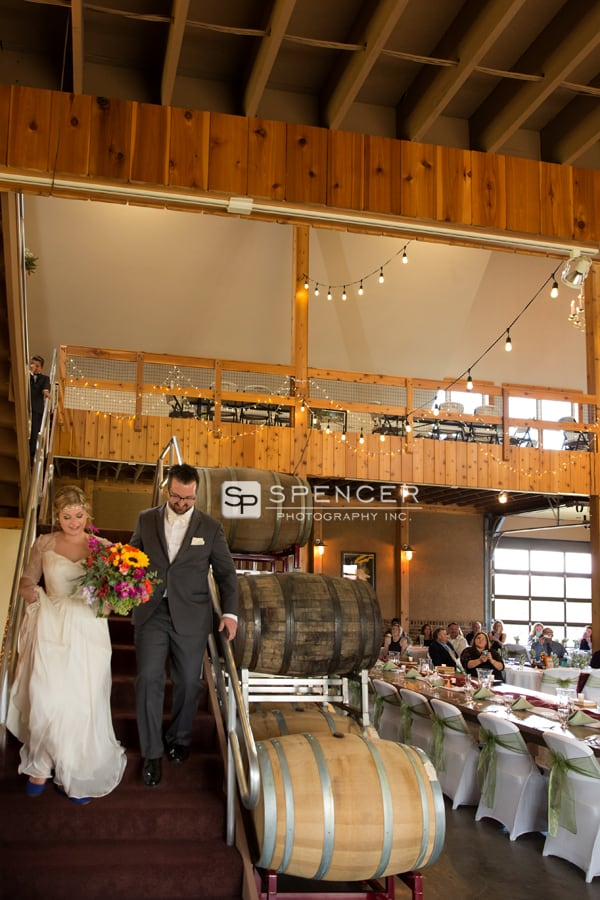wedding processional at the tool shed at breitenbach