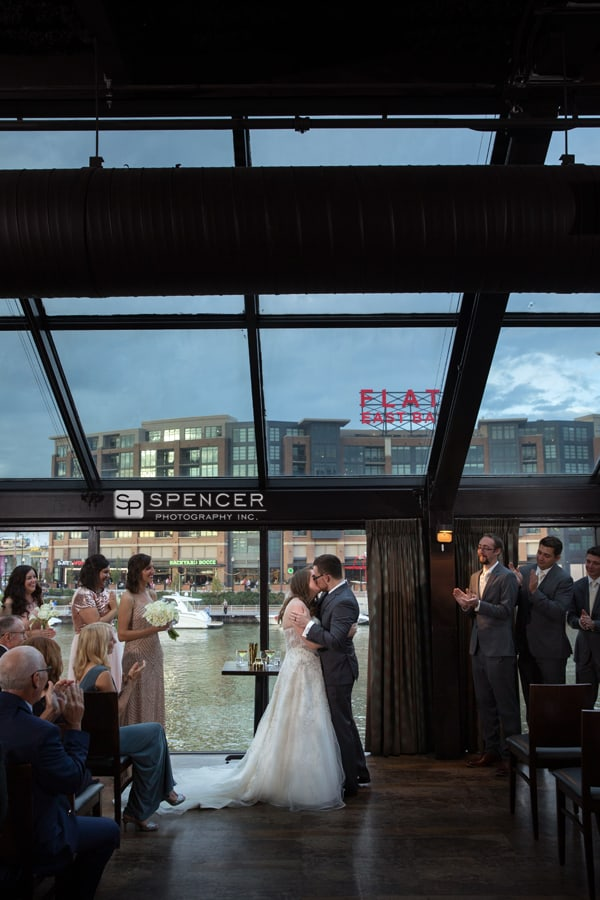 first kiss at wedding ceremony at music box supper club