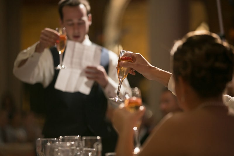 a toast at wedding reception at cleveland old courthouse