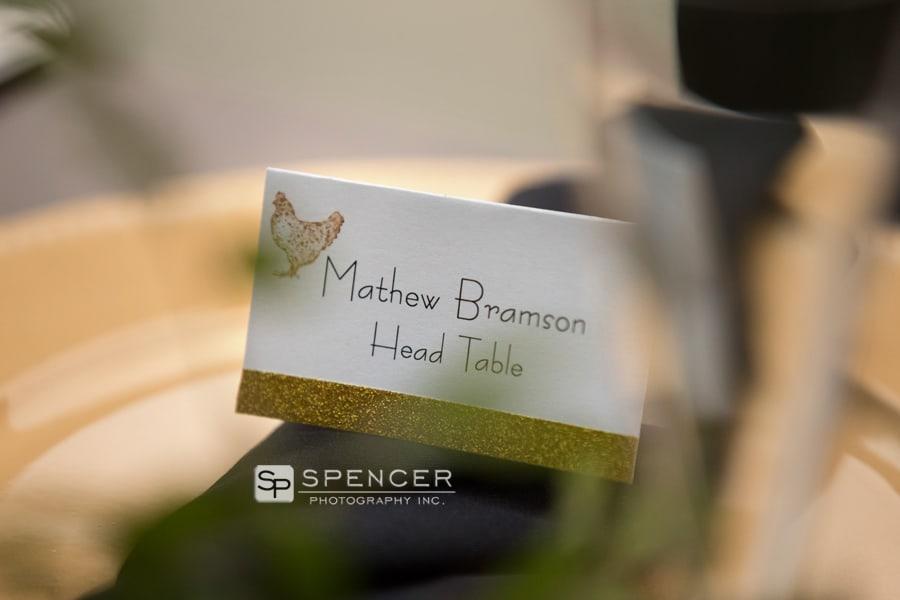 name tag at wedding reception at music box supper club