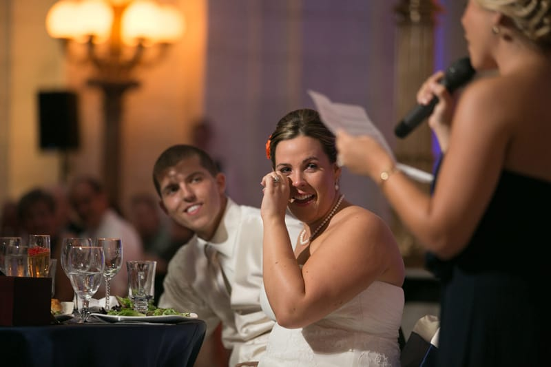 bride reacts to maid of honor speech