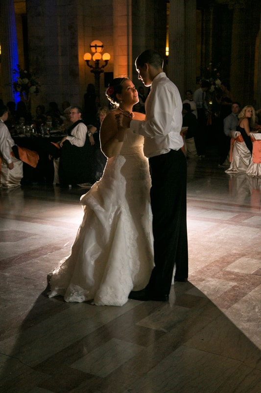 first dance at reception at old courthouse