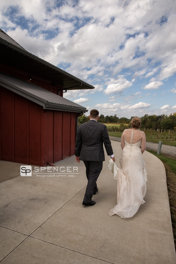 bride arriving at her wedding ceremony at breitenbach winery