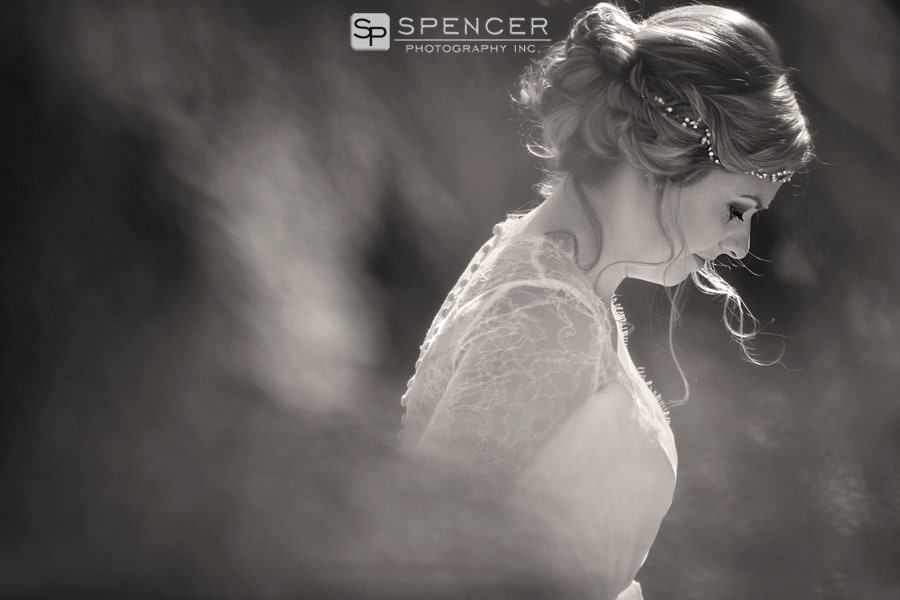 sepia wedding picture of bride