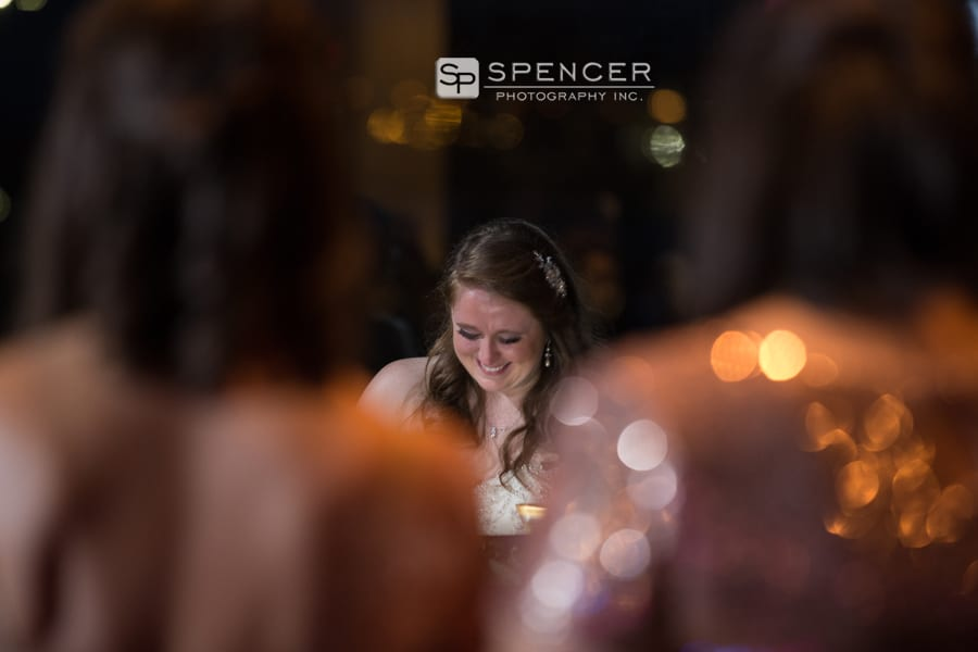bride getting emotional at her reception