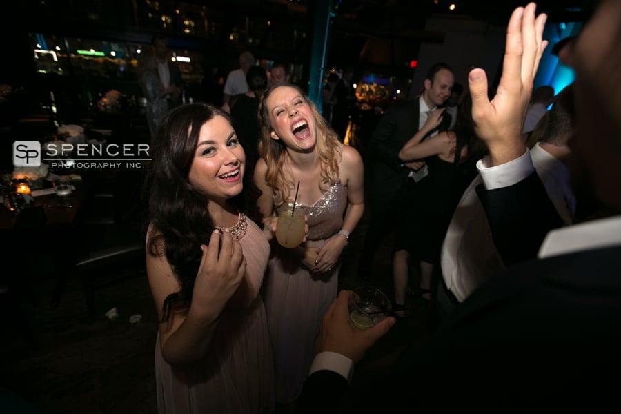 bridesmaids making faces at camera