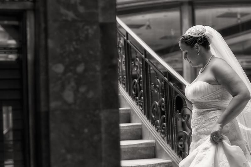 wedding picture of bride at cleveland arcade