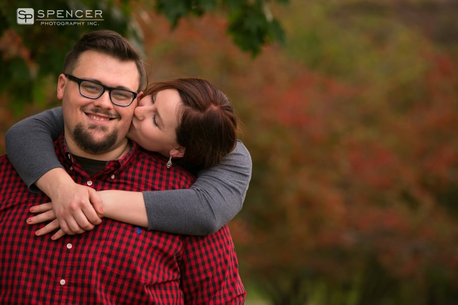 woman kissing man at cleveland photo session