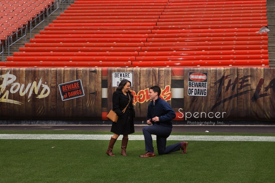 Ray proposing to Nancy at First Energy Stadium