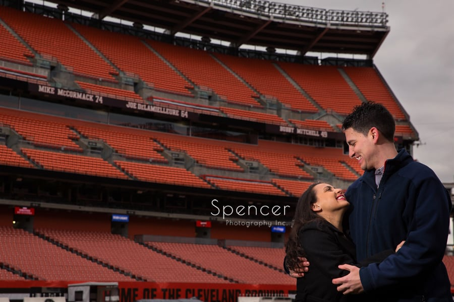 Engagement picture after proposal at First Energy Stadium