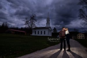 couple hugging at their engagement session at hale farm