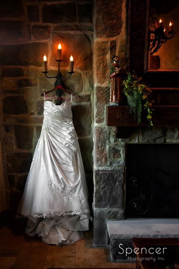 wedding dress hanging in villa of Gervasi Vineyard