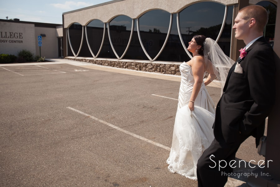 wedding day picture of bride and groom in downtown Canton