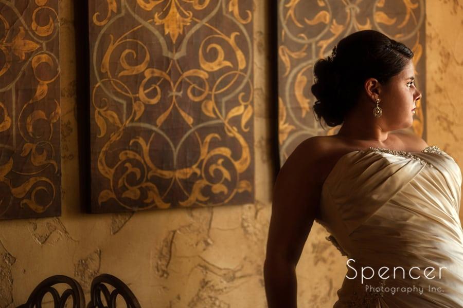bride poses on her wedding day at Gervasi Vineyard