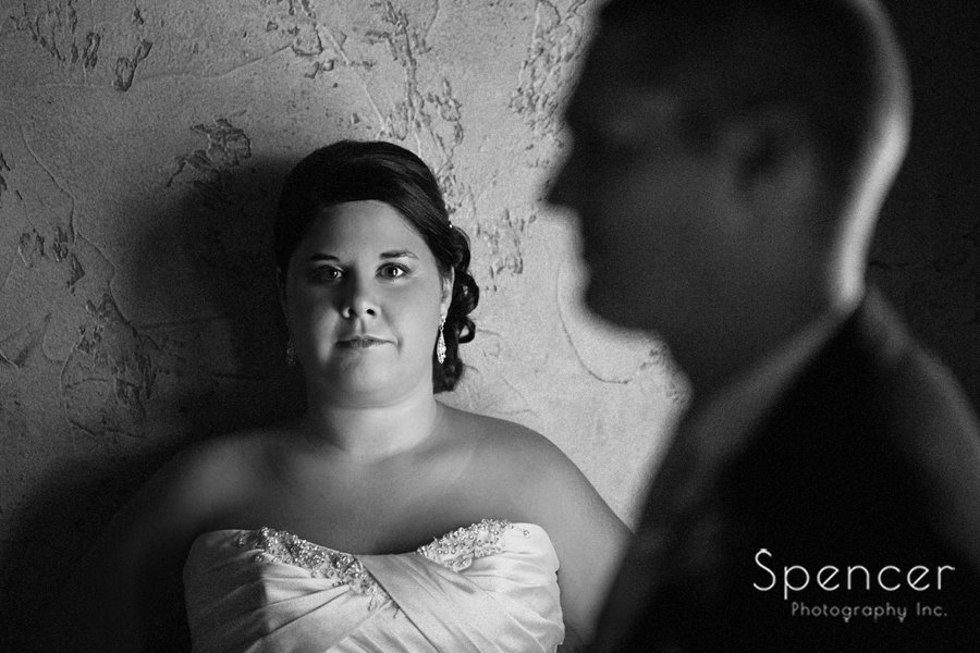 black and white picture of bride and groom in villa at Gervasi
