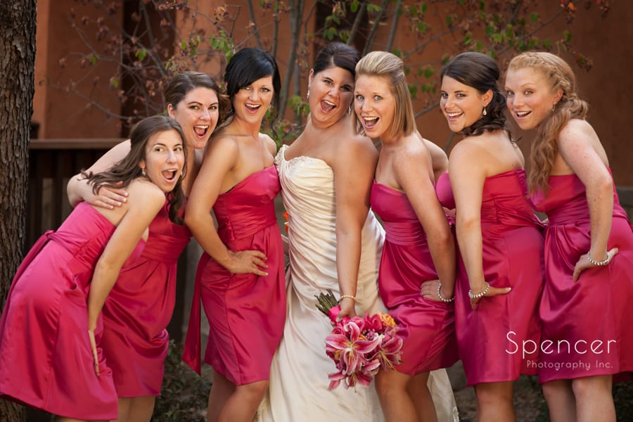 bridesmaid laugh in picture of wedding day at Gervasi