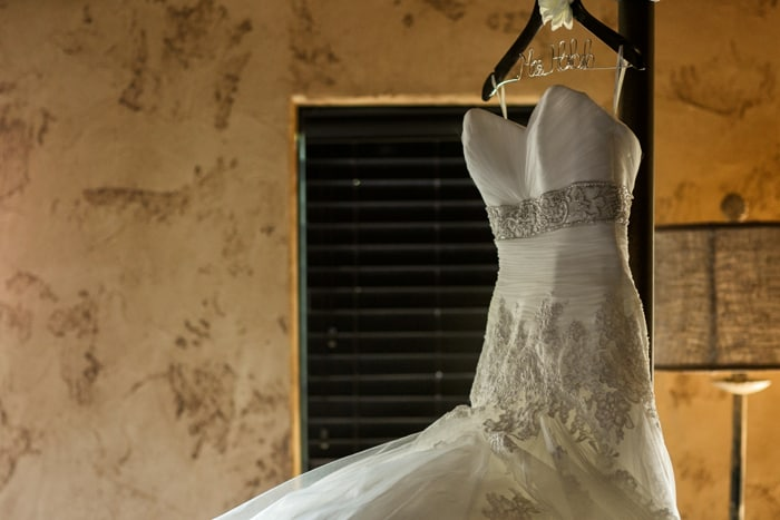 wedding dress hanging in Gervasi Villa