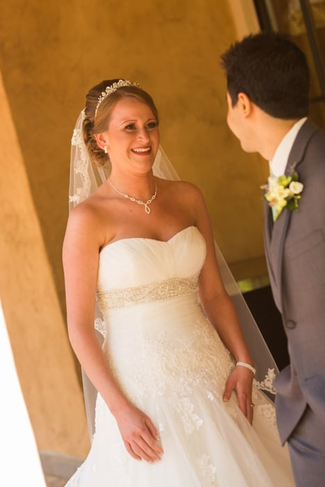 bride and groom see each other for the first time before wedding