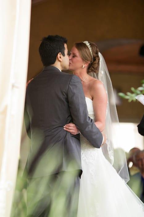 first kiss at Gervasi wedding ceremony