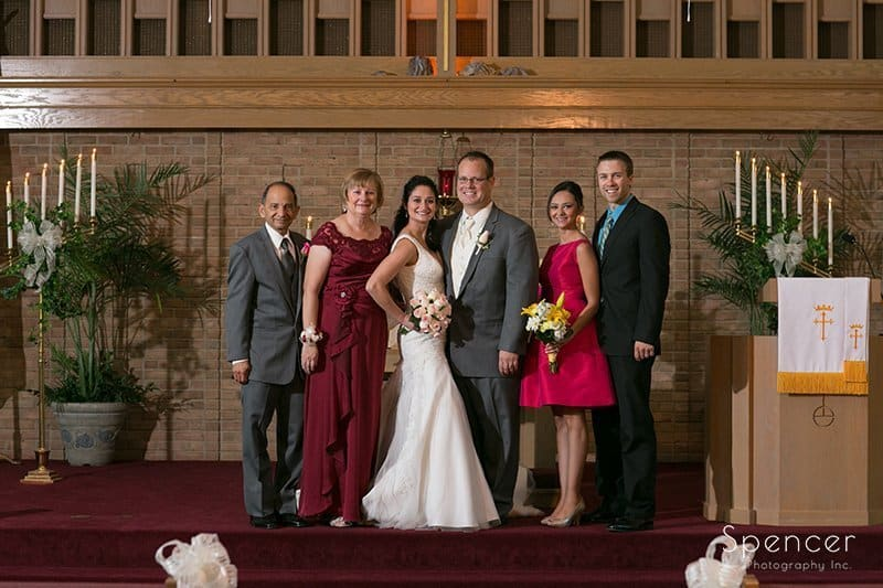 family picture on chruch altar in Tallmadge Ohio