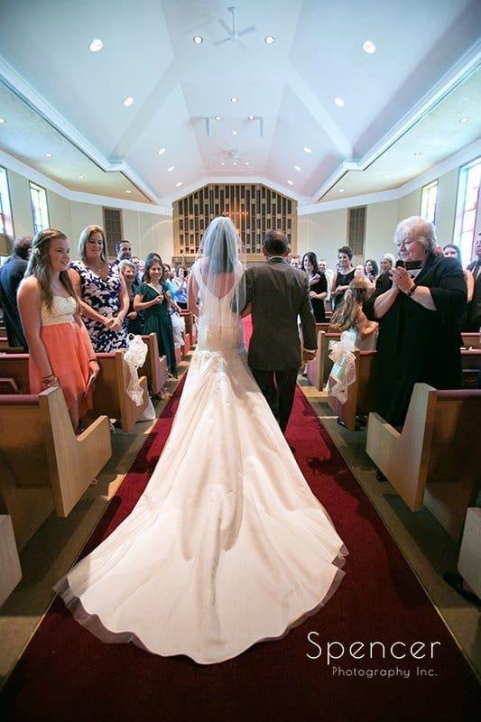 dad walking bride down aisle at wedding in Tallmadge Ohio