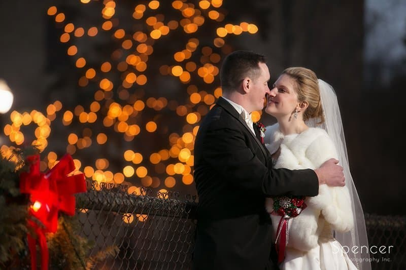 Christmas wedding picture of Bride and Groom in Chagrin Falls