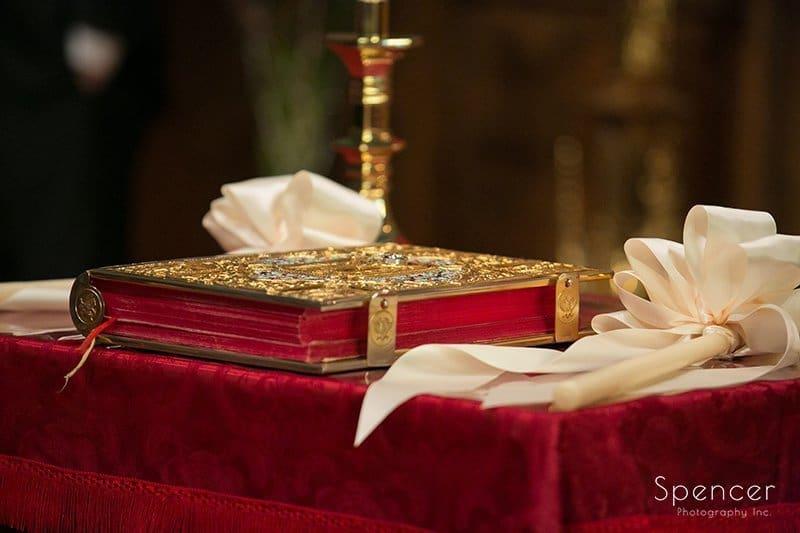 sacred items sitting on altar of Greek wedding in Akron Ohio