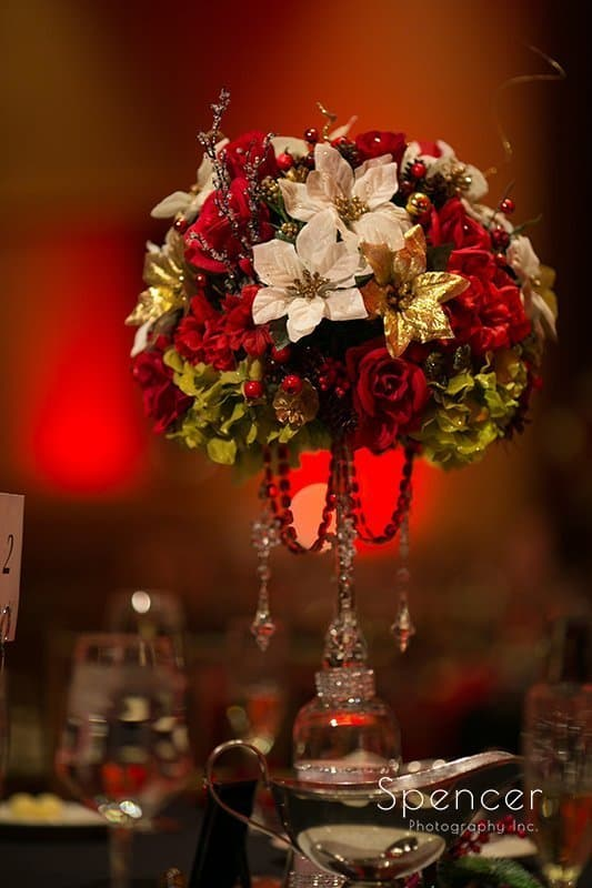 centerpiece at Christmas wedding reception at the bertram
