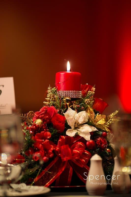 centerpiece candle at Christmas wedding reception at The Bertram