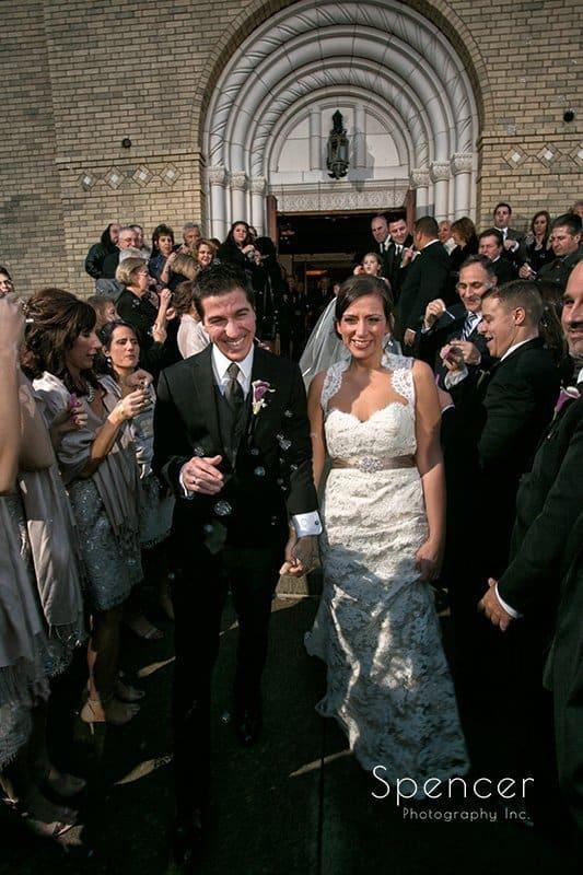 wedding send off at Annunciation Greek Orthodox Chruch in Akron