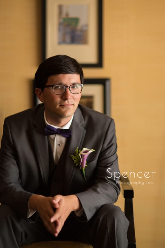 simple portrait of groom on his wedding day