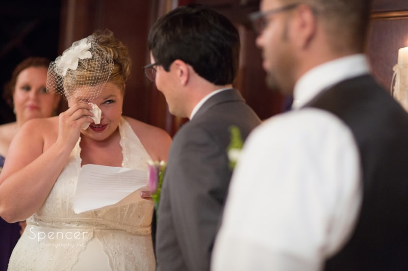 bride crying at wedding ceremony akron tangier