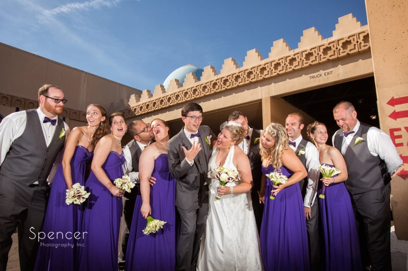 picture of bridal party outside wedding reception at akron tangier