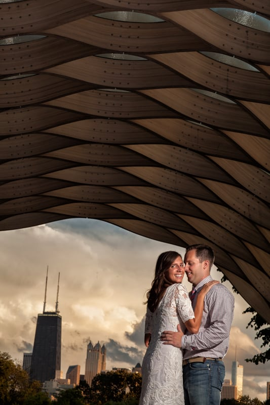 couple during their engagement pictures at chicago zoo