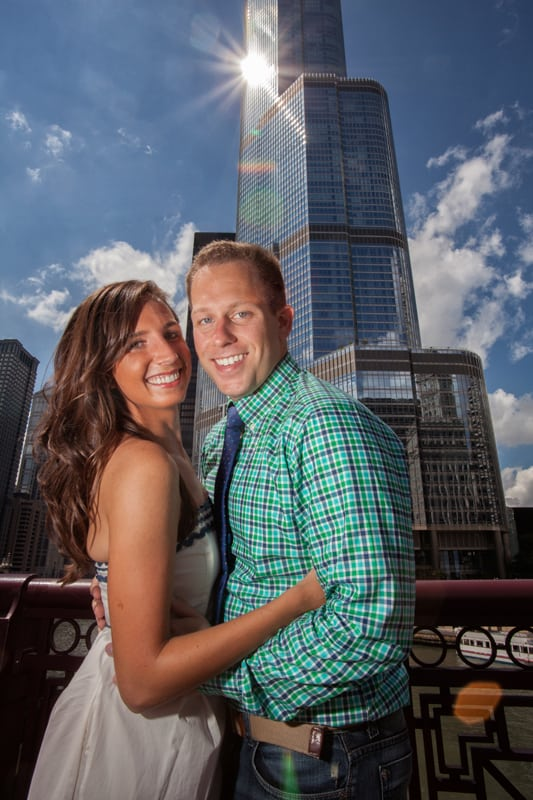 couple in front of trump building