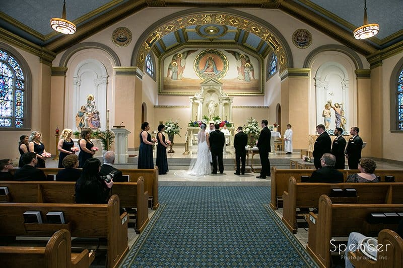 wide shot of wedding ceremony at Holy Rosary Cleveland