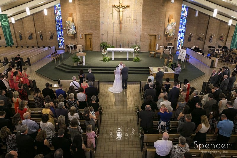 picture of wedding ceremony from balcony at Holy Family Church