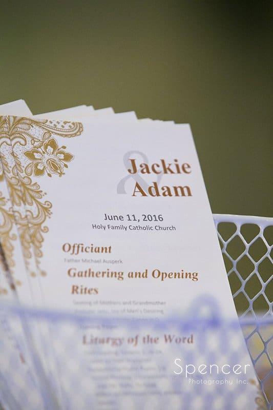 wedding ceremony program at Holy Family Church