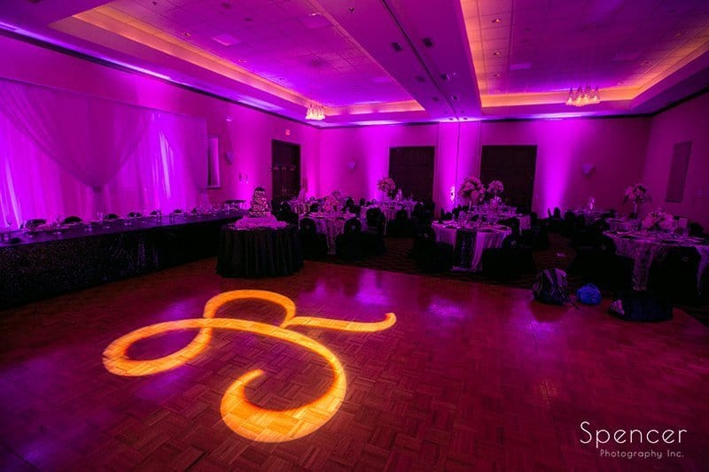 wedding reception monogram at Bertram reception