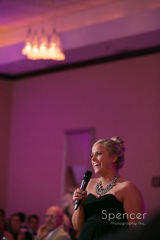 maid of honor speech at wedding reception at Bertam Inn & Conference Center