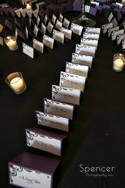 table placards at wedding reception at the Bertram