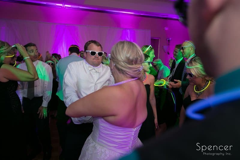 bride and groom dancing at their wedding reception at the Bertram Inn