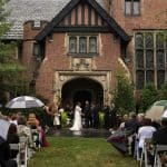 rainy wedding ceremony at stan hywet