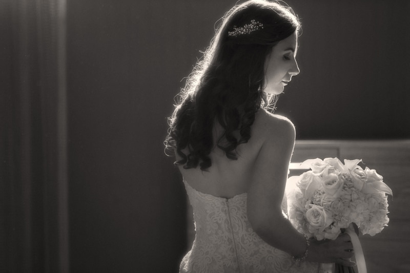wedding picture of bride at cleveland westin