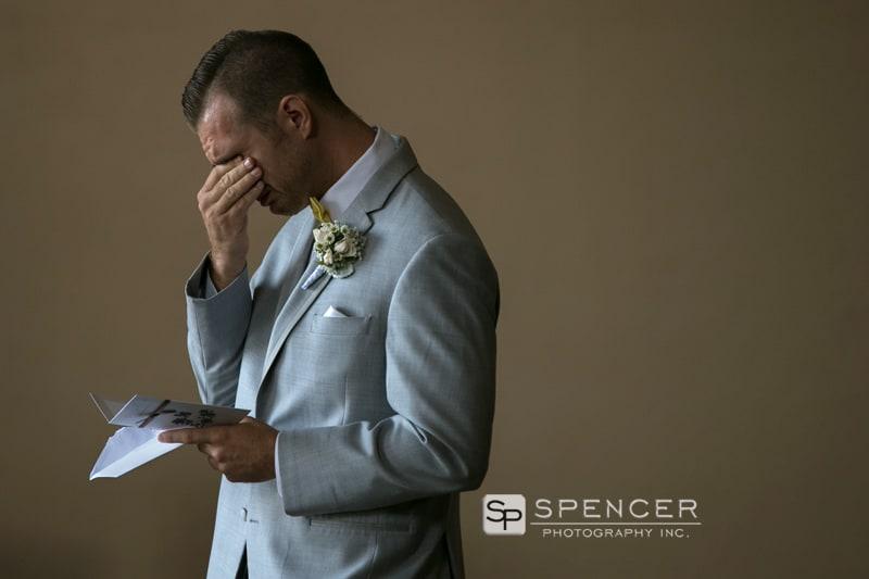 groom getting emotional on wedding day