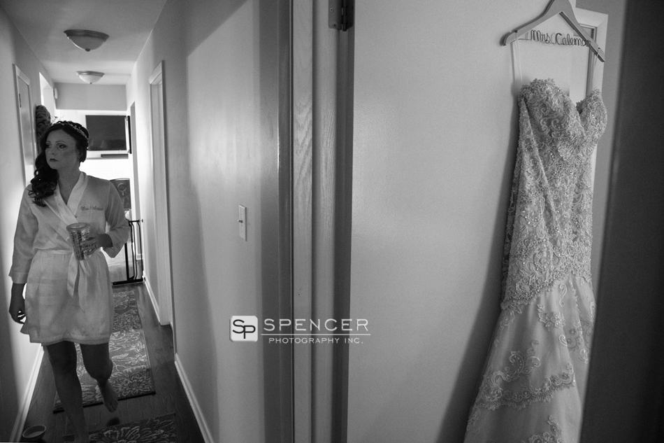 bride walking to her wedding dress