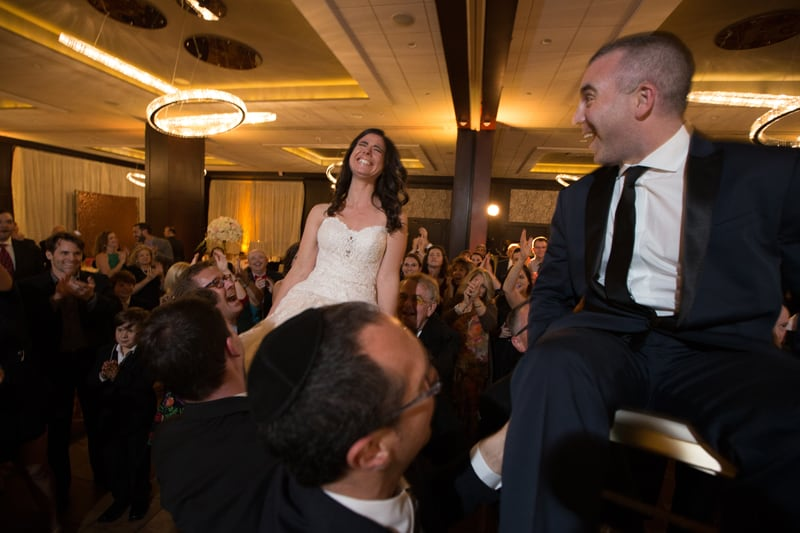 bride laughing at her wedding reception at westin cleveland