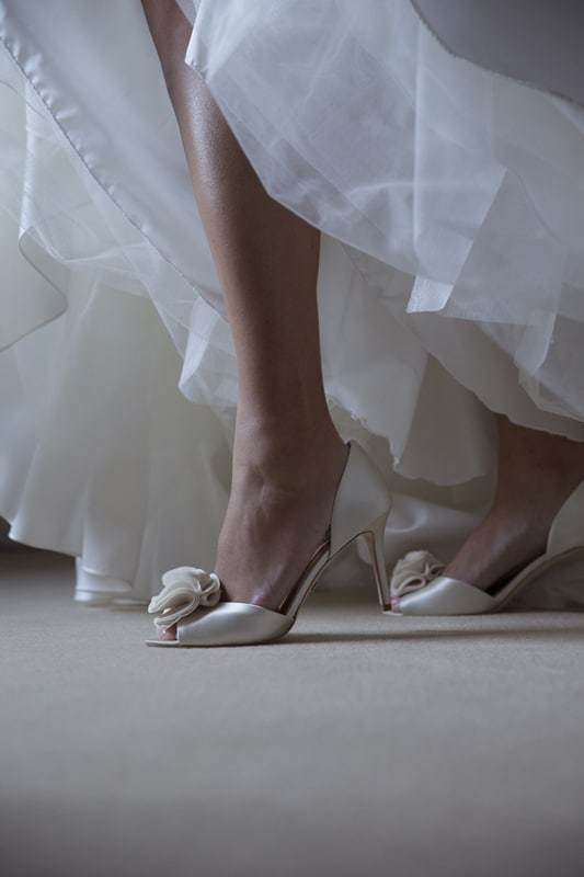 wedding day shoes in suite at union club