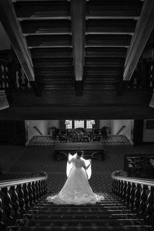 wedding portrait of bride at cleveland union club